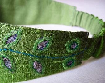 Jewel Green Leaf Silk Headband