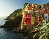 Riomaggiore, Cinque Terre, Italian village by the sea. Romantic Home decor, wall art. Red yellow colorful buildings. Fine Art Photo.