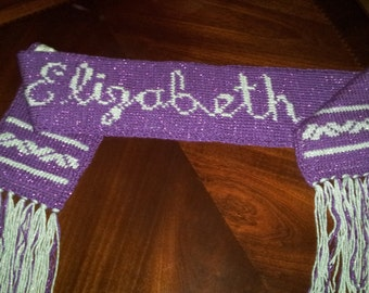 Dark and Light Purple Sparkle Knit Scarf / Personalized Women's Long Scarf with Strings
