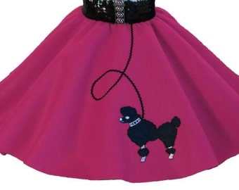 Hot Pink 50's POODLE SKIRT for CHILD 4 5 6 7 8