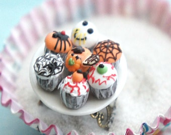 halloween cupcakes ring- miniature food jewelry, food ring, cupcake ring