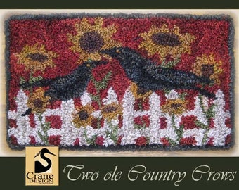 Two Ole Country Crows Punchneedle Pattern Needle Punch