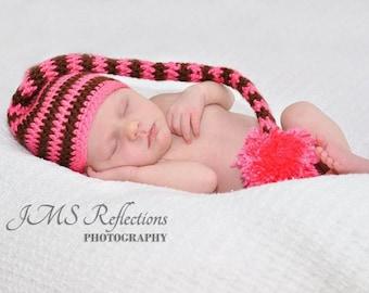 Baby Girl Elf Hat, Munchkin Hat, Newborn Photo Prop, Crochet Munchkin Hat