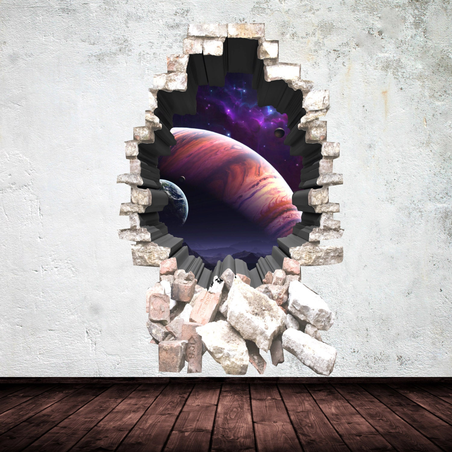 3d deep space planets wall art sticker boy decal mural graphic zoom