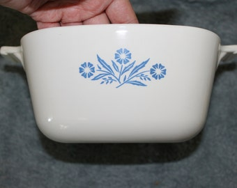 Casserole Dish w handles,  Corning Ware with Blue Flowers and White Background, Corn Flower