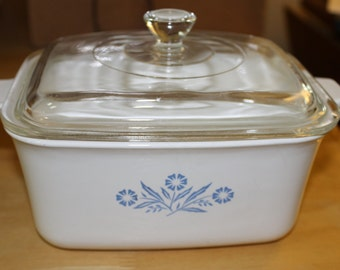 Vintage, Casserole Dish w Lid & Handles,  Kitchen Use, Corning Ware Blue Flowers with White Background, Great Size, No Chips or Cracks,