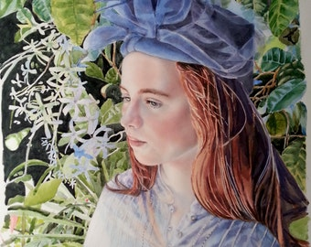 Girl with a blue hat