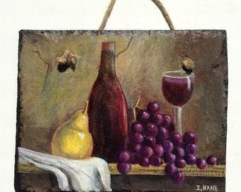 Wine, Grape & Pear Slate Painting