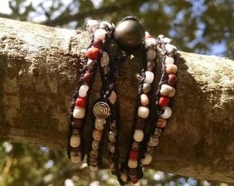 earth tone beaded wrap bracelet on black cord