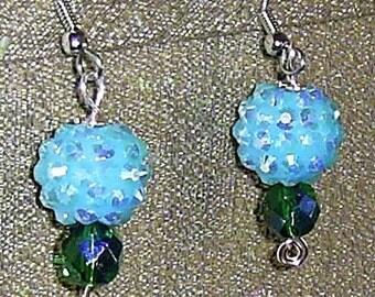 Blue/Green A/B Dangle Sparkle Earrings