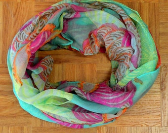Green Hotpink Seashell Corch Light Weight X-large Infinity Scarf Loop Cowl