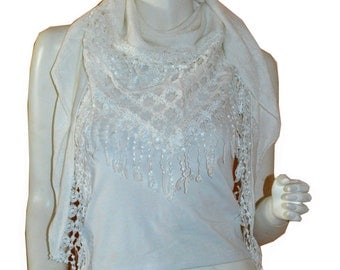 White Triangle Knit & Lace Fashion Scarf