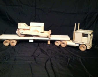 Wood Toy Semi truck with Bulldozer