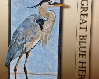 GREAT BLUE HERON Art Quilt Pattern by Toni Whitney floral raw edge fusible applique