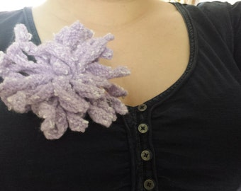 Flower Brooch ~ Lilac handmade wool fabric flower brooch, bag accessory, scarf pin