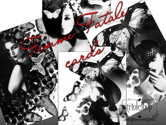 Femme Fatale cards INSTANT DOWNLOAD black and white digital dark retro photo scrapbooking