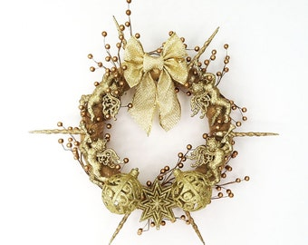 The Return of the Golden Age Hand Crafted Christmas Wreath: OOAK Home Decor