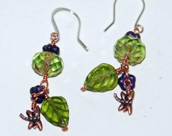 Czech Glass dragonfly earrings j-2027