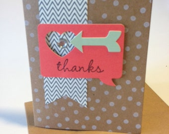 Handmade Thank You Heart Card