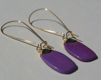 Purple Turquoise Gemstone dangles on 16K gold kidney ear wires. Everyday. Bridal earrings. Bridesmaids earrings. Wedding jewelry. Everyday.
