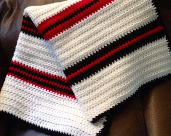 Crocheted Baby Blanket: Black, White and Red Stripes