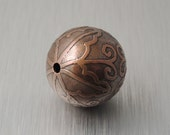 Medium Etched Copper Bead - Scalloped Flower Design - 19mm Round Bead