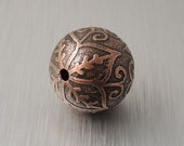 Medium Etched Copper Bead - Pointed Flower Design - 19mm Round Bead