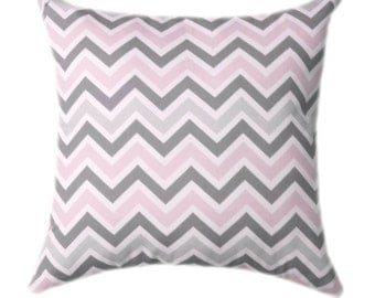 Pink Chevron Throw Pillow Covers - Baby Pink Grey and White Nursery Pillow Cover - Pink and Gray Throw Pillow, Gray Chevron Cushion Cover