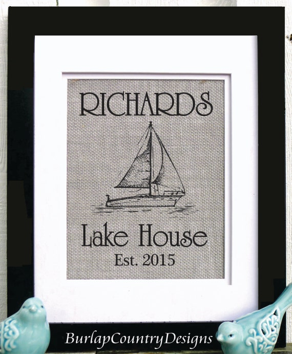 Wall Decor For Lake House : Lake wall decor house art burlap anchor