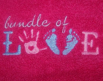 Personalised embroidered Bundle of Love bath towel (100% cotton)