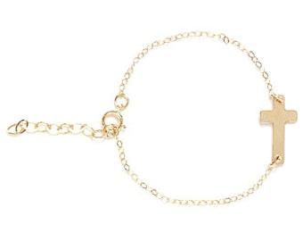 Girls Gold Sideways Cross Bracelet, Baptism Bracelet, Communion Bracelet, Sideways Cross, Girls Cross Bracelet, Girls Gold Cross