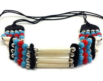 Handmade Native Traditional Tribal 4 Line Buffalo Bone Hairpipe Choker Necklace