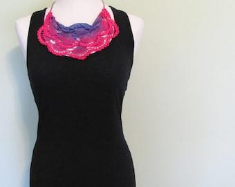 hot pink vintage textile necklace/ Antimacassar Scarflette / statement bib necklace in hot pink, lilac purple and cornflower blue