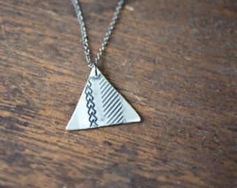 Geometric Triangle Necklace - Triangle Necklace - Geometric Necklace - Bohemian Jewelry - Bohemian Necklace - Long Triangle Necklace