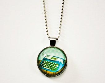 TYPEWRITER Necklace - gift for writers writer gift writer jewelry gifts for authors, typewriter jewelry blue typewriter charm necklace