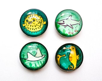 SEA CREATURE magnets by boygirlparty, fridge magnets - cute ocean animal magnet set