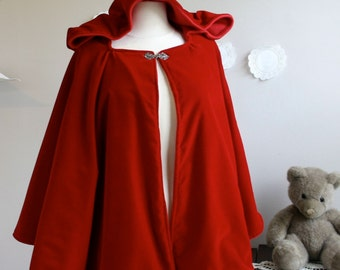 Red Riding Hood Cape Womens Red Hooded Cape Adult Little Red Riding Hood costume in wool or velvet