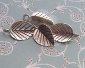 Hill Tribe silver - silver varigated leaf charm