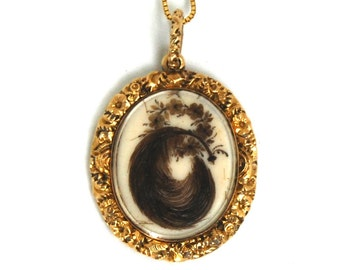 Antique Georgian Mourning HAIR Pendant 14 Karat Gold Double Sided Memorial Feather Flower Wreath Scene with Urn Willow Tree Circa 1830
