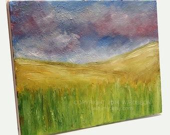 SALE-----Renewed, Original, Landscape Painting, Textured, Original Art, Clouds, Sky, Grasslands, Hills, Fine Art,  Winjimir, Home, Office,