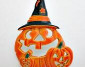 Jack-O-Lantern Vintage Tack Pin / Halloween Jewlry