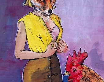 Fox and Rooster Art - Who's the Hunter, Who's the Prey - Sexy Fox and Rooster comic inspired print - matted or framed