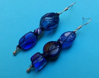 MisMatched Blue Wire Wrapped Bead Earrings - Asymmetric, glass beads, deep blue earrings with blue wire-wrapping, unique unusual rustic ooak