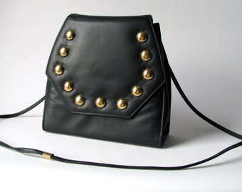 Vintage - 1990's - Studded - Purse - Bag - Black Leather - Gold