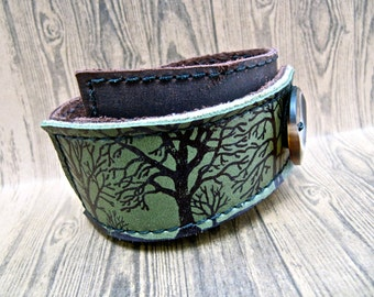 Leather Cuff Bracelet Wrap, Tree Silhouette Print in Black & Hunter Green, Adjustable Size