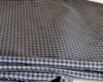 Gingham Fabric Gray & Black Synthetic Lightweight Classic Checked 1+ Yards 60 Inches Wide