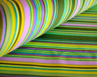 Green Striped Fabric Medium/Heavy Weight All Weather Cotton Screen Printed 2+ Yards