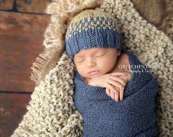 Mark - Perfect Fit Newborn Beanie blue cream tan knit baby hat photography prop