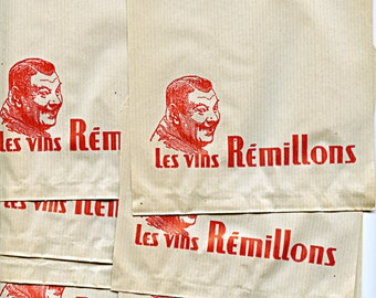 French Advertising Snack Bags Lot of (19)  Bags Les Vins Remillons 1960s Paper Ephemera France 9356