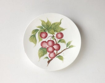 Lefton Plate Red Berries or Cherries, Vintage Kitchen Decor